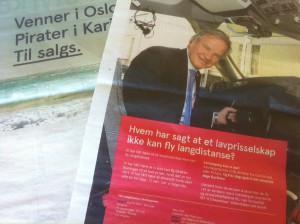 Bjørn Kjos og Norwegian på offensiven igjen med stort annonsebilag i VG i forrige uke. FOTO: Harald Bråthen