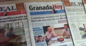 Avisene i frokostsalen forteller at vi er i Granada, Så da stemmer nok det...!