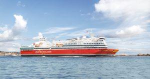 M/S Oslofjord, som nylig mottok designprisen The Shippax Award, skal seile en ekstra kveldsavgang både fra Sandefjord og Strømstad i sommer.  (foto: Fjord Line AS)